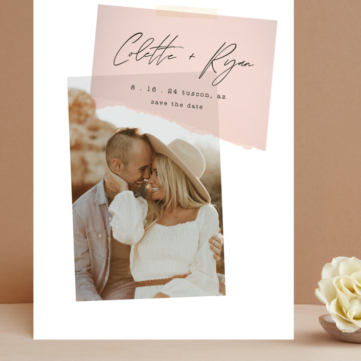 """""""Keepsake"""" - Modern Grand Save The Date Cards in Blush by Morgan Kendall."""