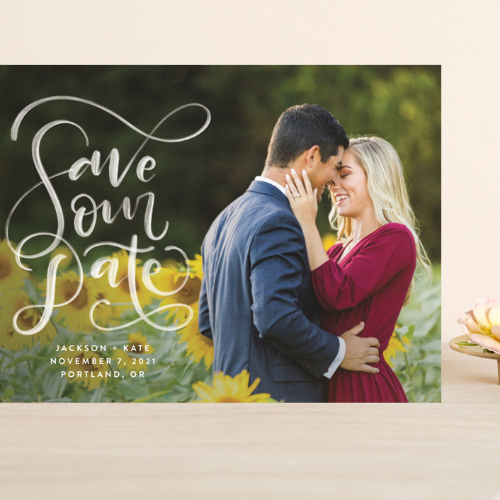 """""""Brushed"""" - Grand Save The Date Cards in Pearl by Amy Payne."""