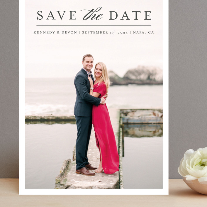 """Classic Save the Date"" - Grand Save The Date Cards in Platinum by Pine and Lark."