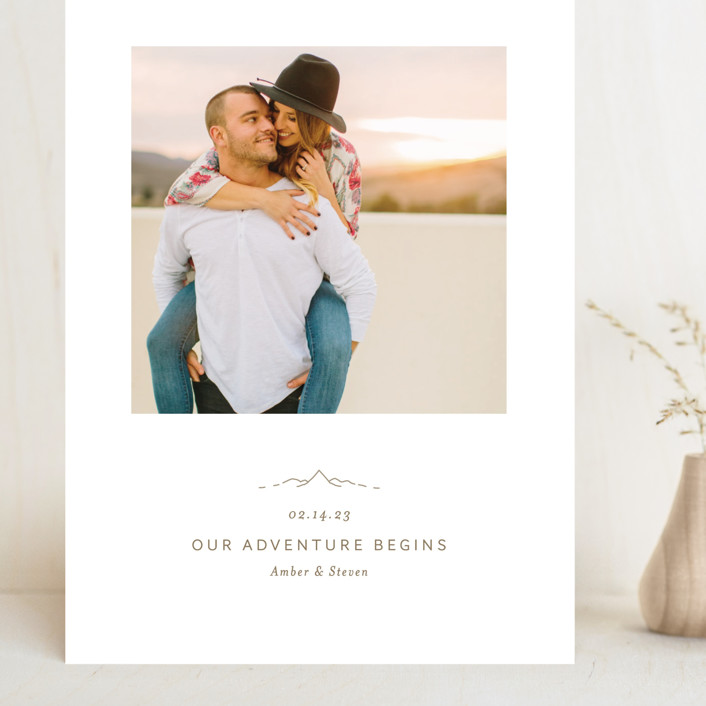 """""""Let the Adventure begin"""" - Grand Save The Date Cards in Latte by Heather Francisco."""