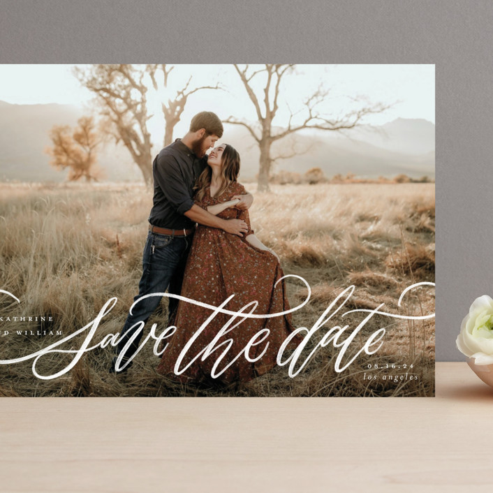 """""""Flourished Love"""" - Grand Save The Date Cards in Cloud by Wildfield Paper Co."""