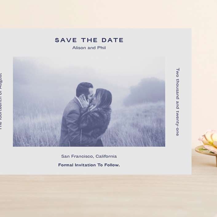 """Flyer"" - Grand Save The Date Cards in Navy by Jack Knoebber."