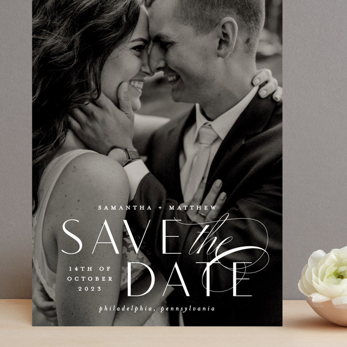"""""""Swoop"""" - Grand Save The Date Cards in Pearl by Everett Paper Goods."""