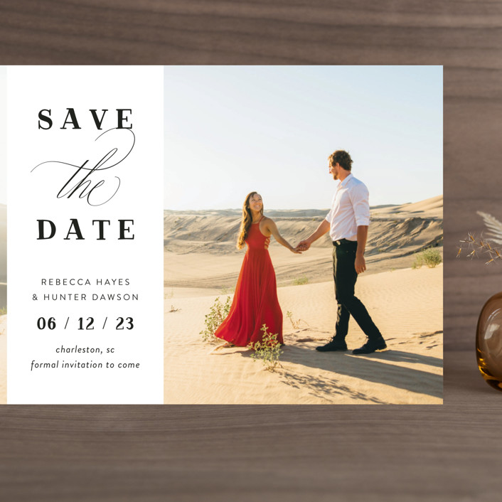 """""""Southern Charm"""" - Grand Save The Date Cards in Noir by Beth Murphy."""