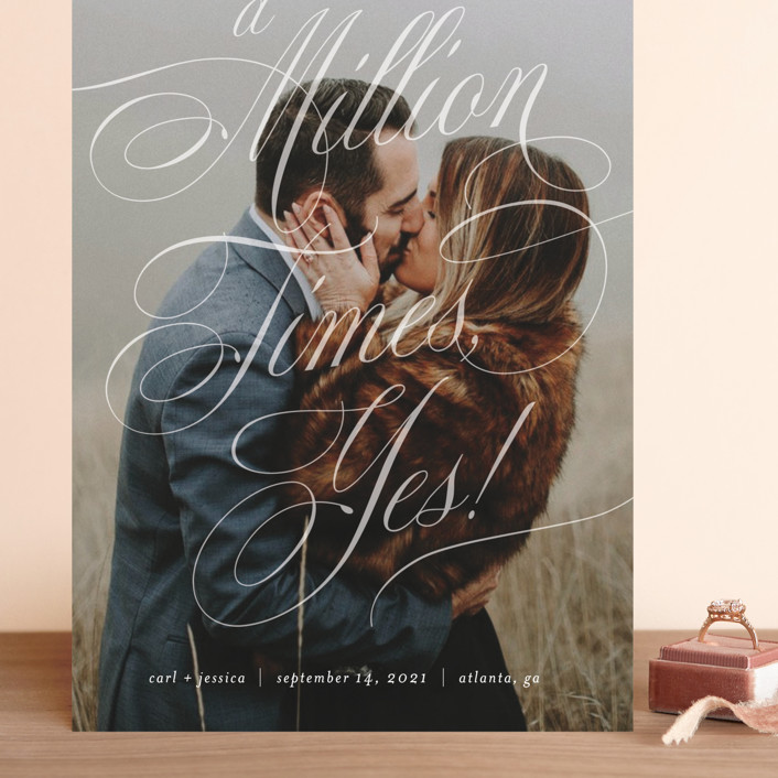 """A Million Times"" - Grand Save The Date Cards in Snow by Paper Raven Co.."