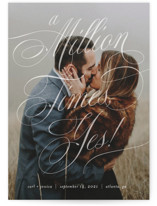 This is a white save the date by Paper Raven Co. called A Million Times with standard printing on smooth signature in grand.