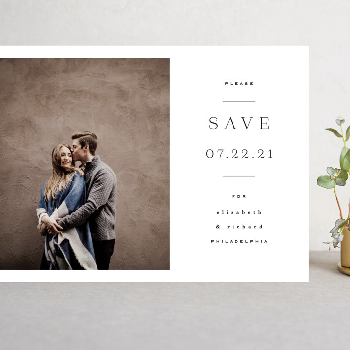 """""""Editorially"""" - Grand Save The Date Cards in Tuxedo by Everett Paper Goods."""