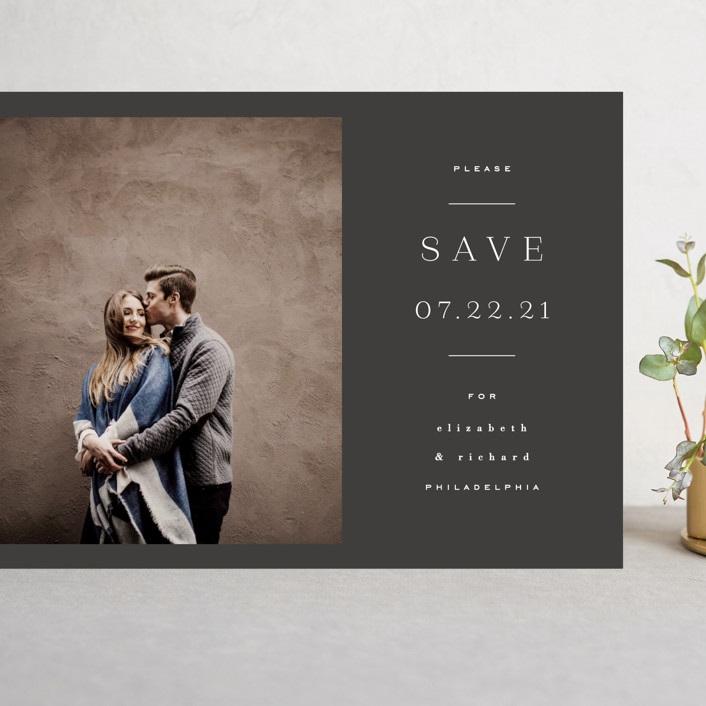 """Editorially"" - Grand Save The Date Cards in Tuxedo by Everett Paper Goods."