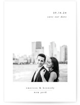 This is a white save the date by Playground Prints called Minimal Romance with standard printing on smooth signature in grand.
