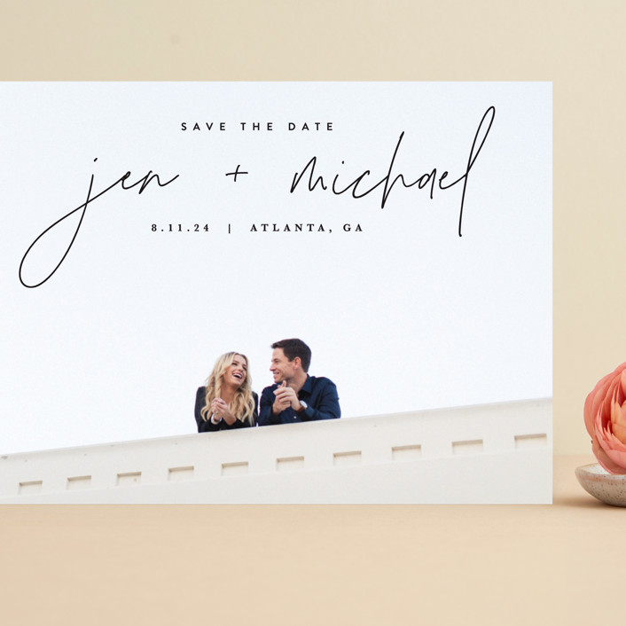 """Penned"" - Grand Save The Date Cards in Noir by JoAnn Jinks."