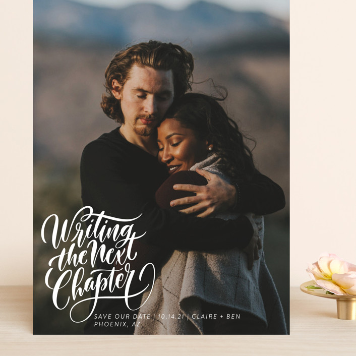 """""""The Next Chapter"""" - Grand Save The Date Cards in Pearl by Laura Bolter Design."""