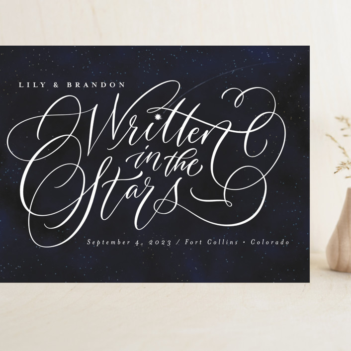 """""""Starry-Eyed"""" - Grand Save The Date Cards in Night Sky by Laura Bolter."""