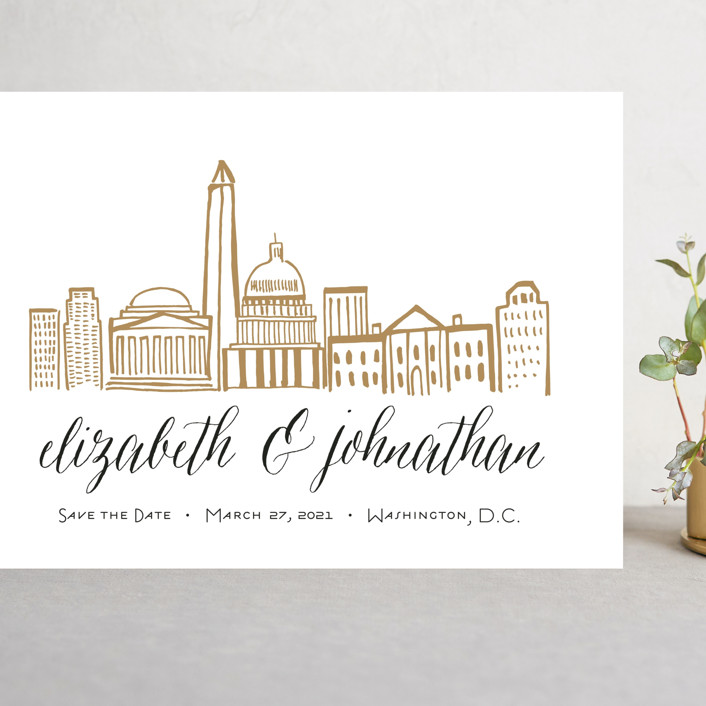 """""""Skyline - Washington DC"""" - Grand Save The Date Cards in Gold Coast by Abby Munn."""