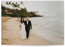 This is a white save the date by Ashlee Townsend called Paradise Found with standard printing on recycled in grand.