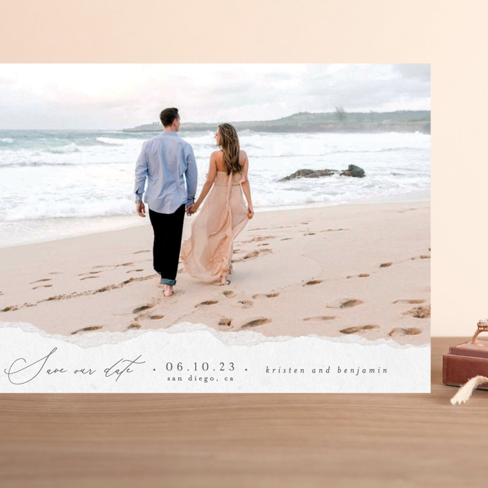 """""""Torn Texture"""" - Grand Save The Date Cards in Parchment by Everett Paper Goods."""