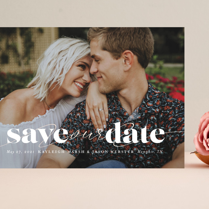 """""""Swoon"""" - Grand Save The Date Cards in Vanilla by Lea Delaveris."""