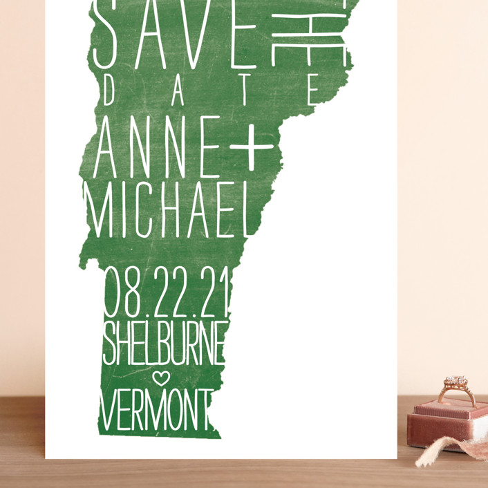 """State Stamp - Vermont"" - Grand Save The Date Cards in Forest by Fig and Cotton."