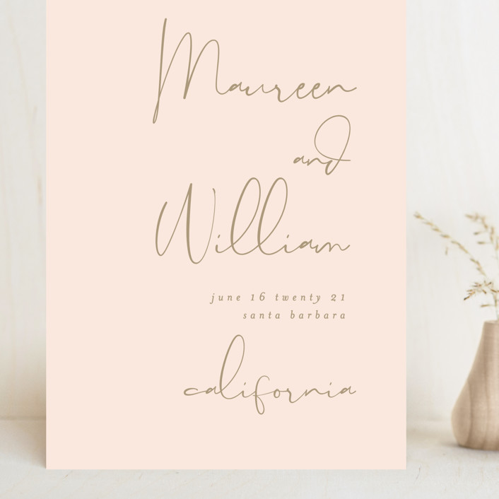 """""""A few words"""" - Modern Grand Save The Date Cards in Blush by Susan Brown."""
