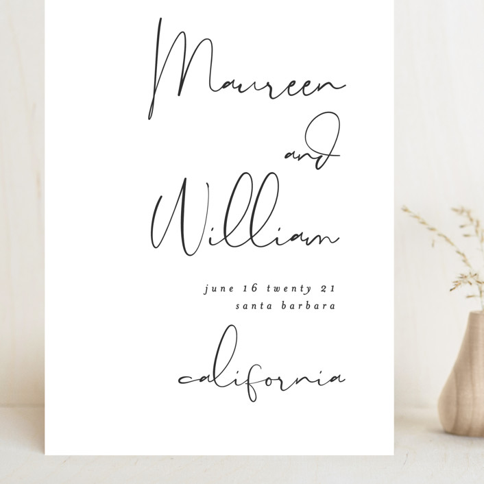 """""""A few words"""" - Grand Save The Date Cards in Cotton by Susan Brown."""