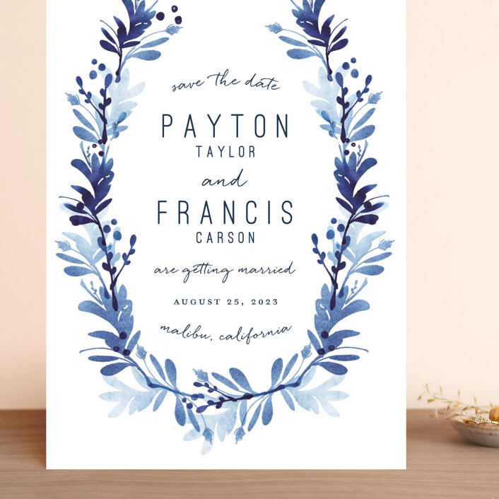 """""""willow frame"""" - Grand Save The Date Cards in Lake by Robin Ott."""