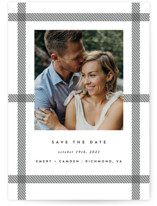 This is a black and white save the date by carly reed walker called Keepsake with standard printing on smooth signature in grand.