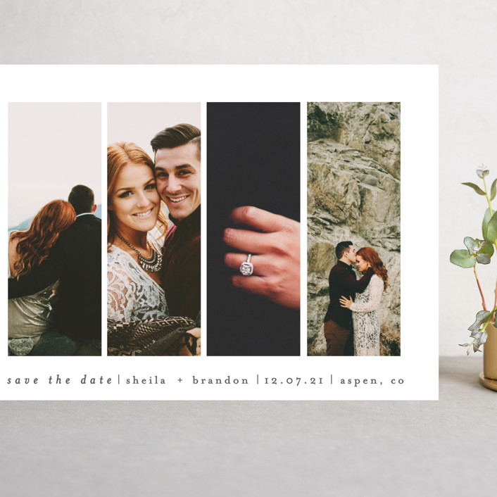 """""""Special Snapshots"""" - Grand Save The Date Cards in Charcoal by Bethan."""