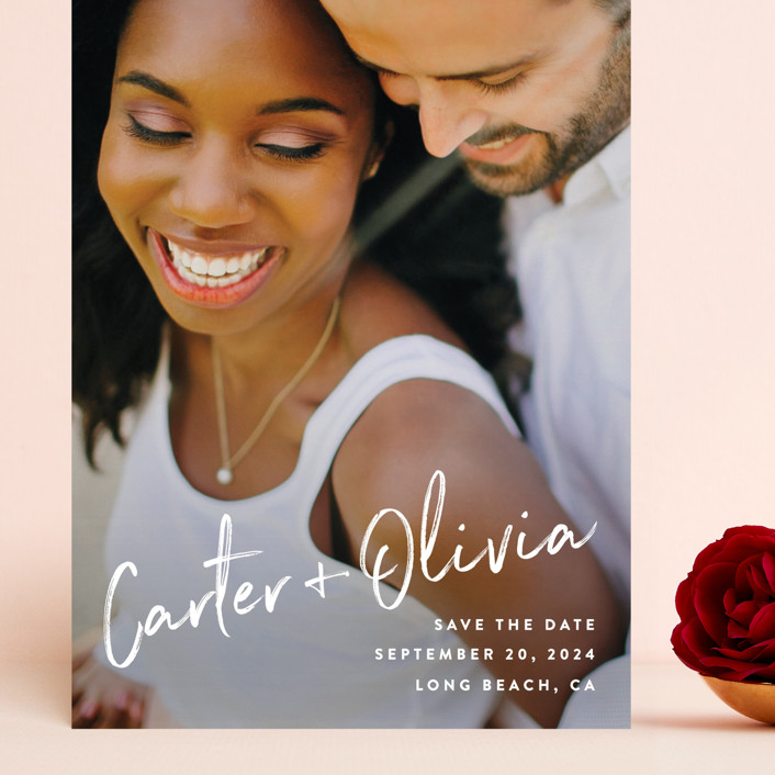"""""""Signature"""" - Grand Save The Date Cards in Pearl by Owl and Toad."""