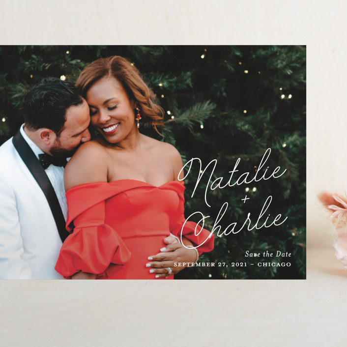 """Namely"" - Grand Save The Date Cards in Ivory by Kaydi Bishop."