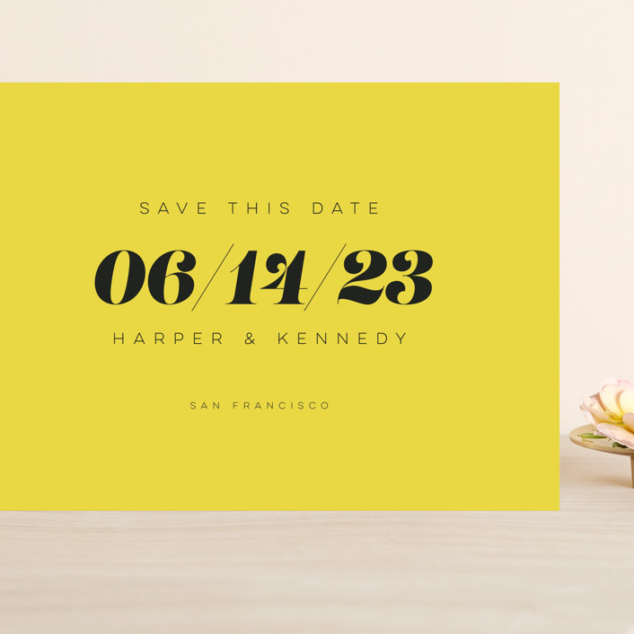 """Bold Simplicity"" - Grand Save The Date Cards in Mimosa by Laura Bolter."
