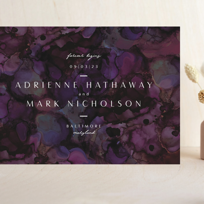 """""""midnight lake"""" - Grand Save The Date Cards in Vineyard by Erin L. Wilson."""