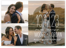 This is a white save the date by Owl and Toad called Earthy with standard printing on smooth signature in grand.