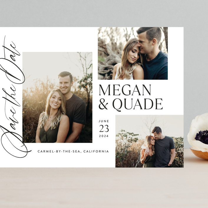 """""""Editorial Trio"""" - Grand Save The Date Cards in Snow by Jill Means."""