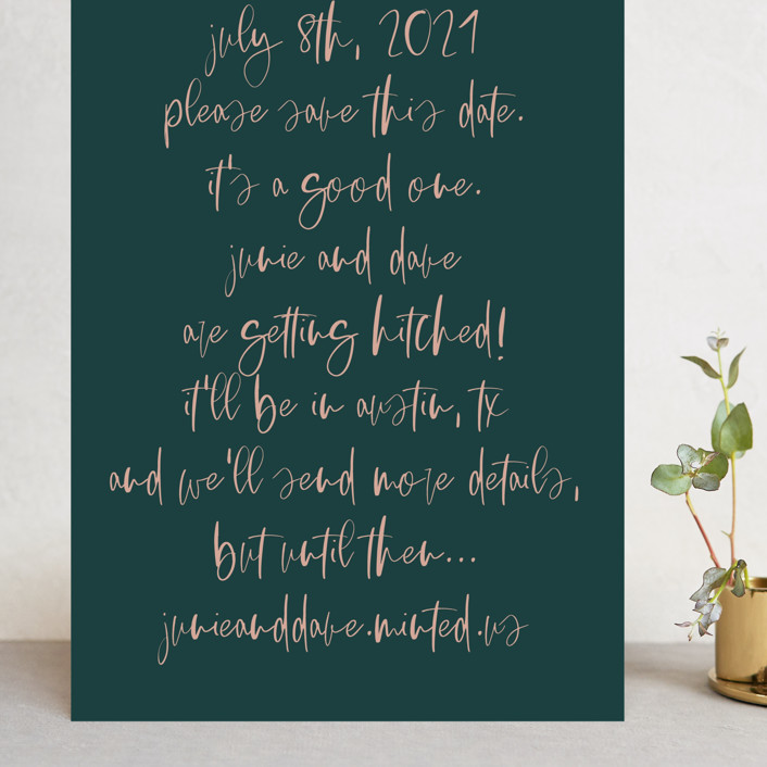 """""""It's a Good One"""" - Grand Save The Date Cards in Blush by Annie Montgomery."""