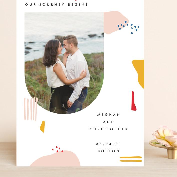 """Emilie"" - Modern Grand Save The Date Cards in Blush by Karen Schipper."