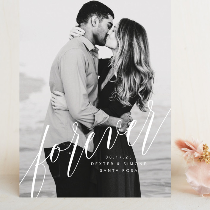 """forever with you"" - Modern Grand Save The Date Cards in Linen by Guess What Design Studio."