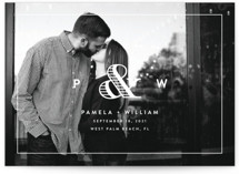 This is a white save the date by Kim Dietrich Elam called Esquire with standard printing on smooth signature in grand.