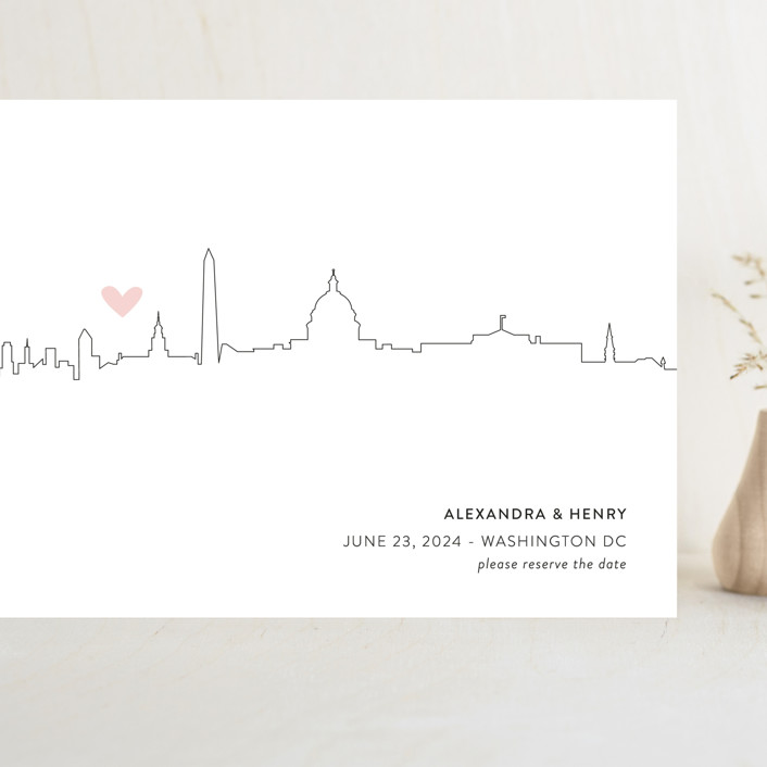 """""""Love in the City - Washington DC"""" - Grand Save The Date Cards in Petal by Erin Deegan."""