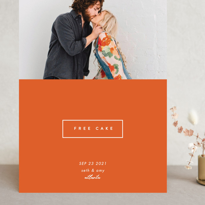 """""""Because Cake"""" - Grand Save The Date Cards in Cayenne by Erin L. Wilson."""
