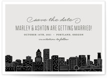 This is a grey save the date by Hooray Creative called Big City - Portland with standard printing on signature in grand.