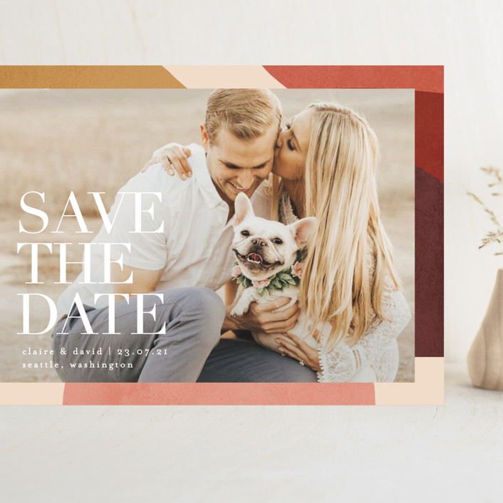 """Galeria"" - Grand Save The Date Cards in Autumn by Kelly Schmidt."