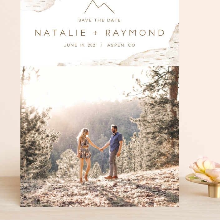 """""""Birchbark"""" - Destination, Simple Grand Save The Date Cards in Natural by Kelsey Mucci."""