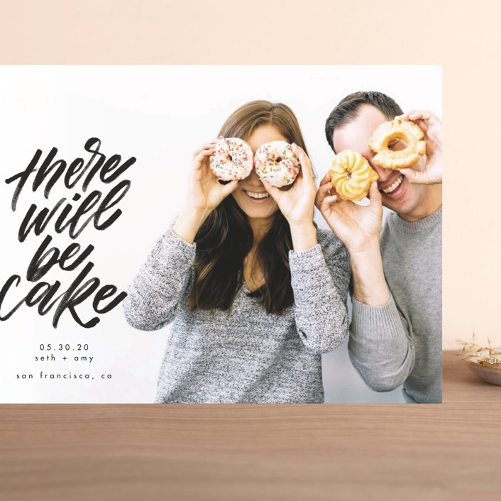 """There Will Be Cake"" - Grand Save The Date Cards in Charcoal by Erin L. Wilson."