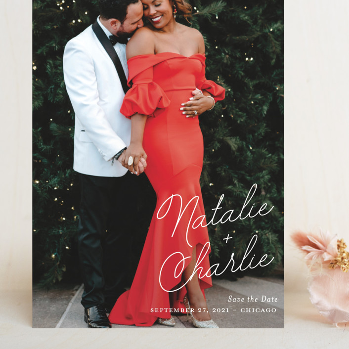 """""""Namely"""" - Grand Save The Date Cards in Ivory by Kaydi Bishop."""