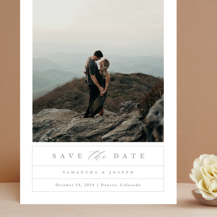 """""""Simple Grid"""" - Grand Save The Date Cards in Fog by Kristen Smith."""