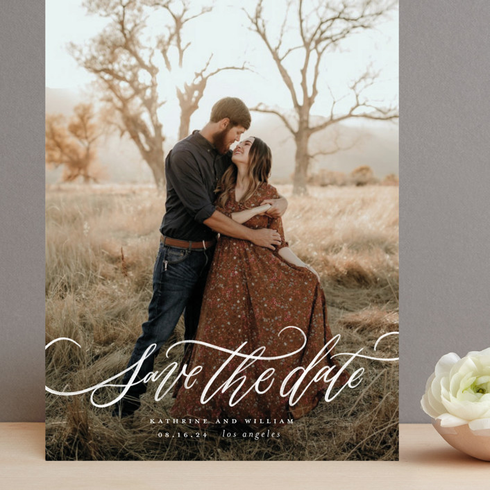 """Flourished Love"" - Grand Save The Date Cards in Cloud by Wildfield Paper Co."
