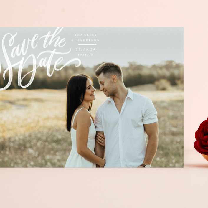 """""""Love Letters"""" - Grand Save The Date Cards in Daisy by Wildfield Paper Co."""
