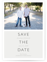 This is a grey save the date by Waldo Press called Modern Date with standard printing on smooth signature in grand.