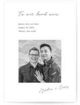 This is a black save the date by Katy Shen called Written Reminder with standard printing on smooth signature in grand.