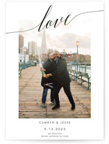 This is a black save the date by Debb W called Love is Love with standard printing on signature in grand.