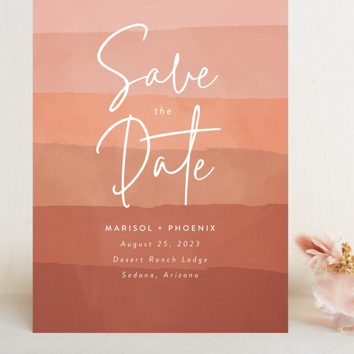 """desertscape"" - Bohemian Grand Save The Date Cards in Canyon by Susan Asbill."